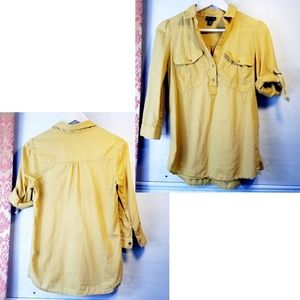 Fei For Anthropologie Mustard Yellow Popover Shirt